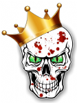 GOTHIC King of SKULL Skulls With GREEN Evil Eyes and Crown Blood Splatter Motif External Vinyl Car Sticker 115x85mm